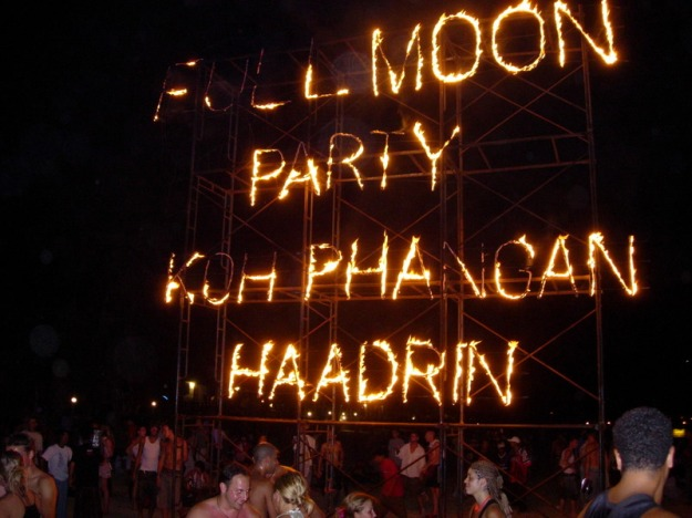 Full tilt at the Full Moon party in Koh Phangan.