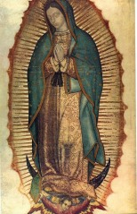 The apparition on the cloak of Juan Diego.