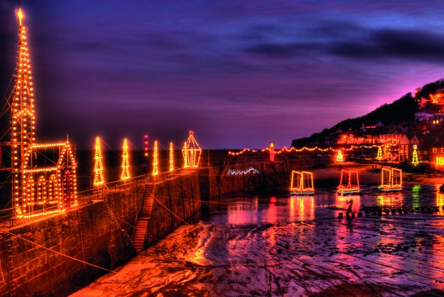 Mousehole, Cornall, Christmas, England, illuminations, Britian