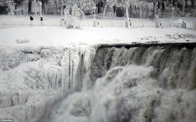 The polar vortex even gripped Niagra Falls. (Photo credit: Reuters)