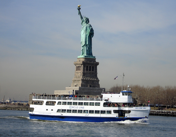 The Statue of Liberty and the circle line Ferry