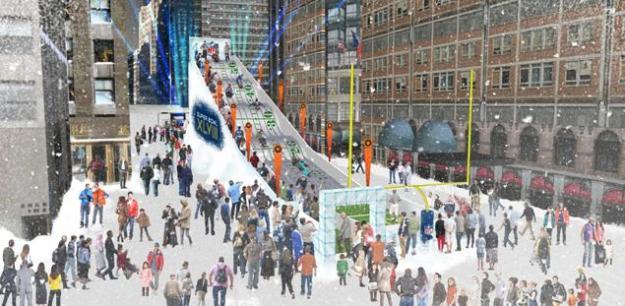 A rendering of Super Bowl Boulevard.