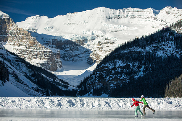 Zipping around Lake Louise.