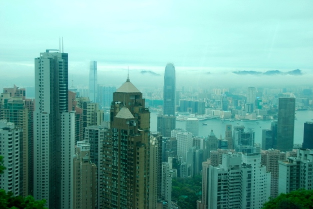 A rainy view from top of Victoria Peak.  (Photo credit:  R. Bushong)
