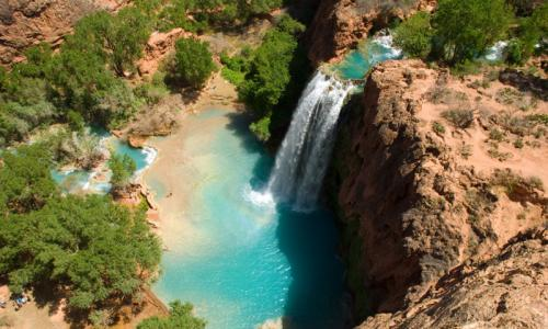 Bird's eye view of Havasu Falls.